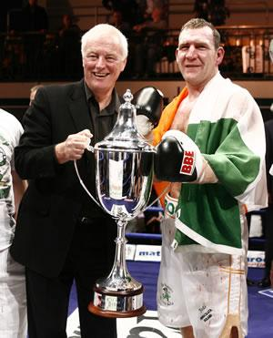 Promoter Barry Hearn with winner Martin Rogan