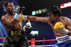 Pacquiao on the attack against Shane Mosley