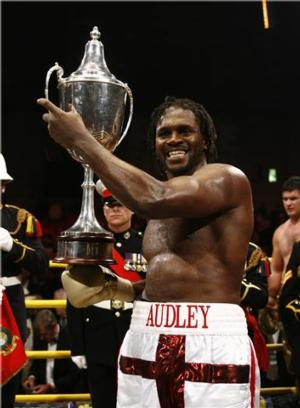 Audley with the Prizefighter trophy(pic Lawrence Lustig)