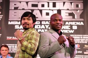 Pacquiao And Bradley face each other Saturday