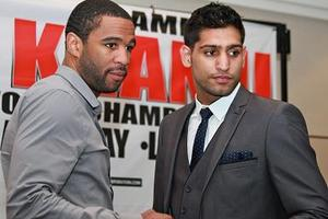 Peterson and Khan at London press conference Stefan Baisden