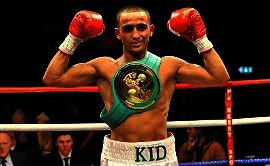 Galahad displays his WBC belt