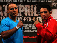 (L-R) Mike Alvarado & Mauricio Herrera (Photo © Chris Farina / Top Rank)