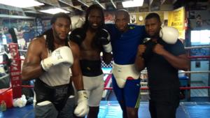 Harrison with sparring partners Malik Scott,Joe Hanks and Errol Gill