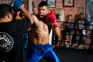 Victor Ortiz on the pads