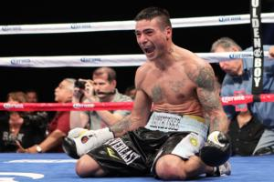 Matthysse collapses to the canvas after win
