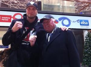 Helenius and coach Ulli Wegner arrive in Helsinki