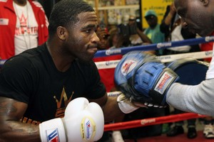Broner works out for the media