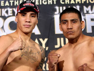 (L-R) Oscar Valdez & Gil Garcia - Photo © Chris Farina / Top Rank